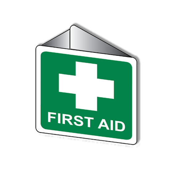 AeroSupplies First Aid Signs – Angle Bracket / Off Wall (Poly)>