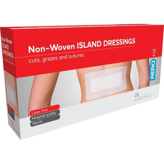 AeroFix Non-Woven Island Dressings 9cm x 20cm Box/20>