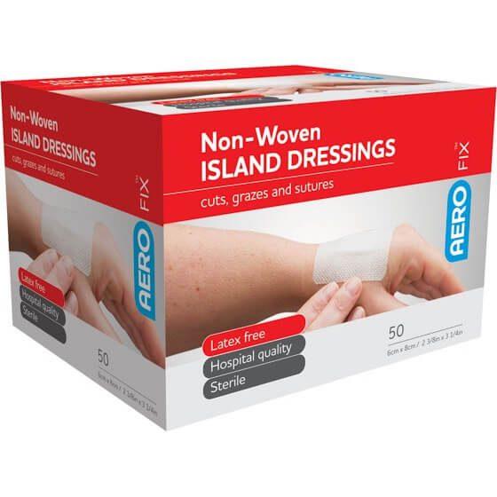AeroFix non-woven Island Dressings 6cm x 8cm Box/50>