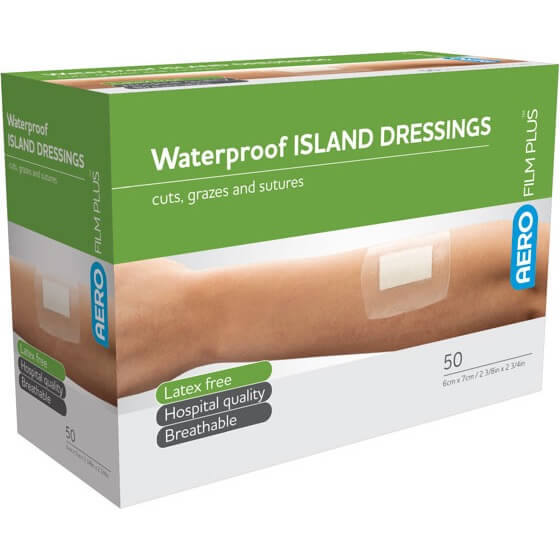 AeroFilm Plus Waterproof Island Film Dressings 6cm x 7cm Box/50>
