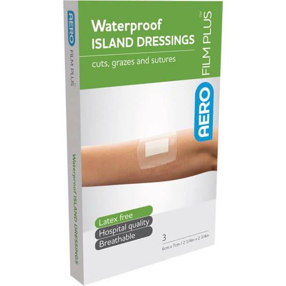 AeroFilm Plus Waterproof Island Film Dressings 6cm x 7cm Env/3>