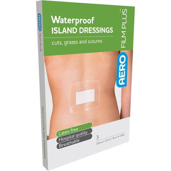 AeroFilm Plus Waterproof Island Film Dressings 10cm x 12cm Env/3>