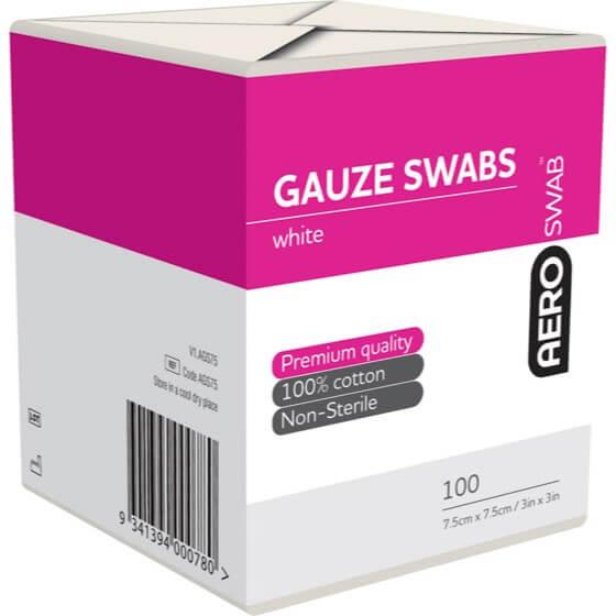 AeroSwab Non-Sterile Gauze Swabs 7.5cm x 7.5cm Pack of 100>