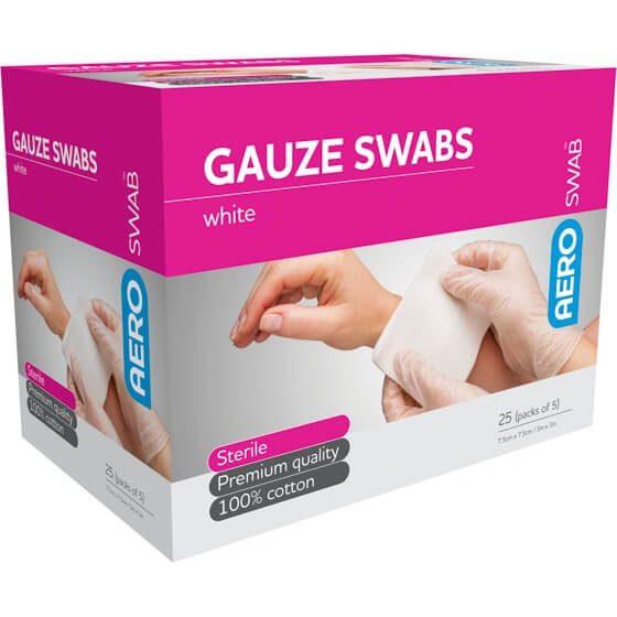 AeroSwab Sterile Gauze Swabs 5pcs 7.5cm x 7.5cm>