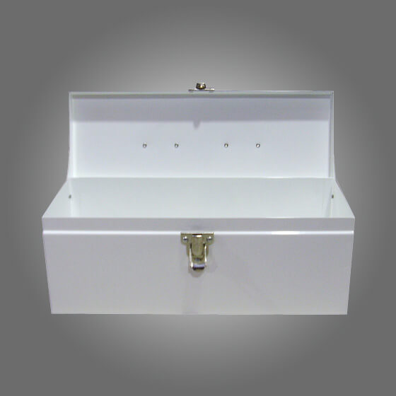 White Metal Cases / Tins (optional Tray) Small>