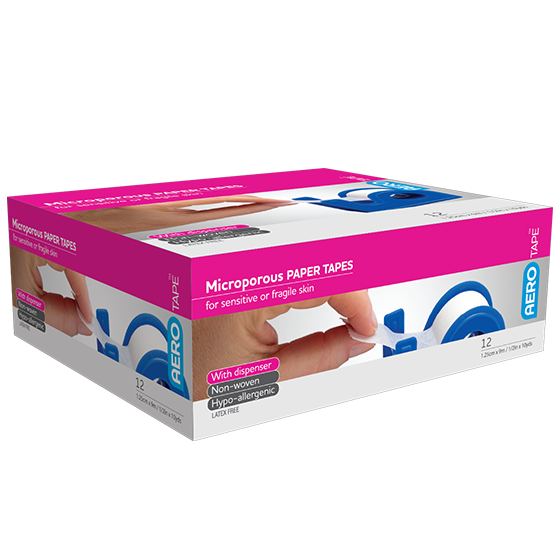 AeroPore Microporous Paper Tape with Dispenser 1.25cm x 9m>