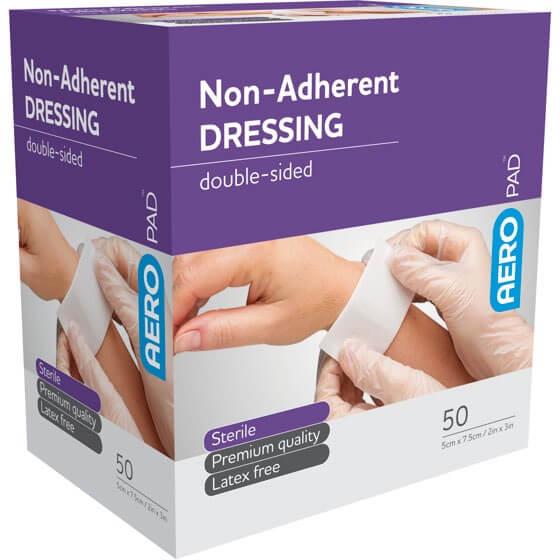 AeroPad Non-Adherent Dressing Pads 7.5cm x 5cm>