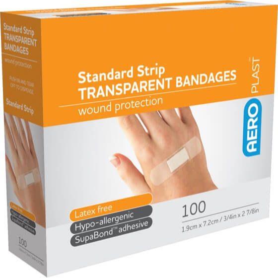 AeroPlast Transparent Bandages – Strips x 100>