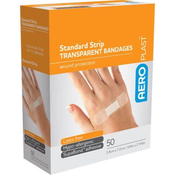 AeroPlast Transparent Bandages – Strips x 50>