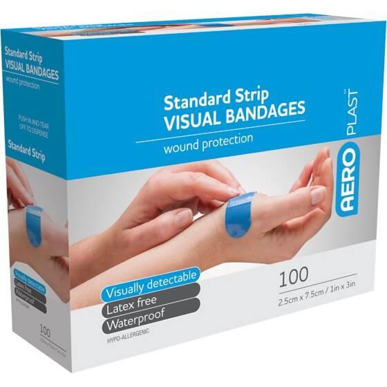 AeroPlast Premium Visual Bandages – 100 Strips Extra Wide>