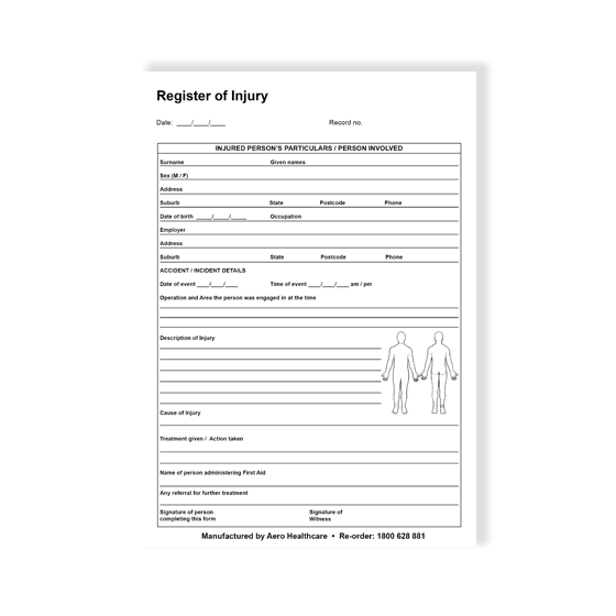 AeroGuide Register of Injuries Pad>