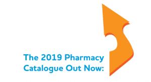 Arrow pointing towards the pharmacy 2019 catalogue