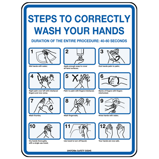 AeroSupplies Steps To Correctly Wash Your Hands Sign (Poly)>