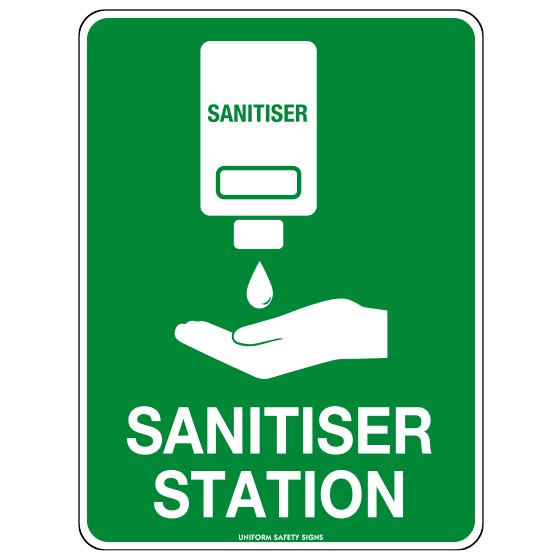 AeroSupplies Sanitiser Station Sign (Poly Off Wall)>