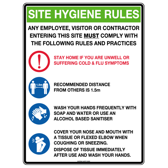 AeroSupplies Site Hygiene Rules Sign (Poly)>