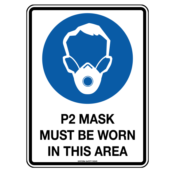 AeroSupplies P2 Mask Must Be Worn In This Area Sign (Poly)>