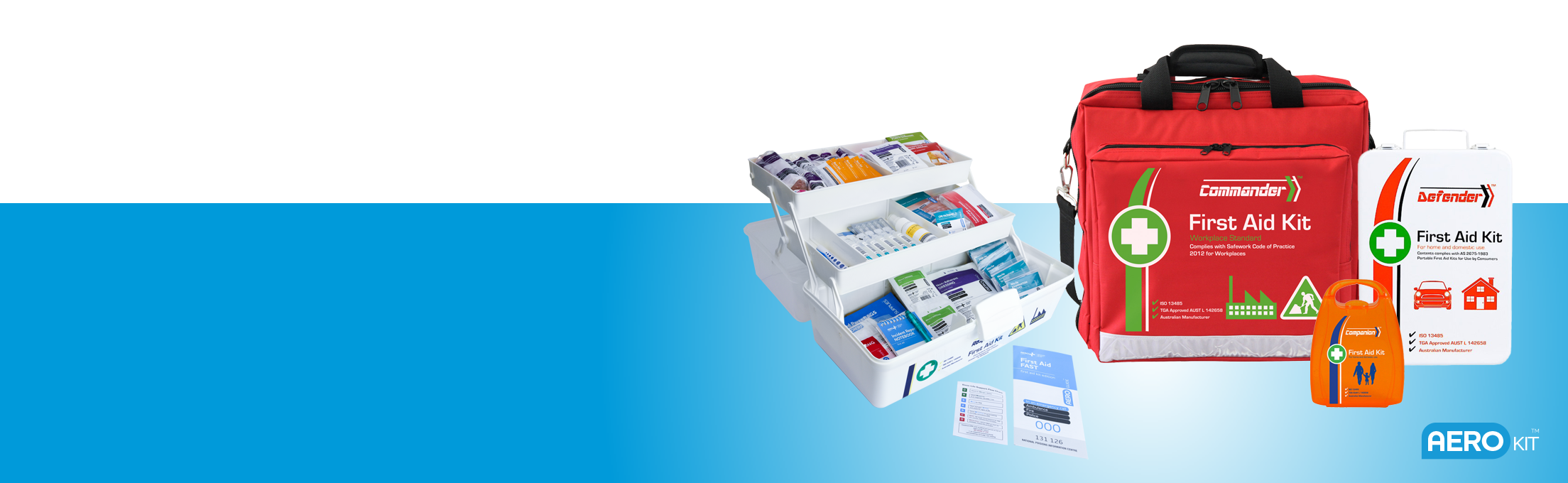 Image of the range of Aero Healthcare First Aid Kit range AeroKit