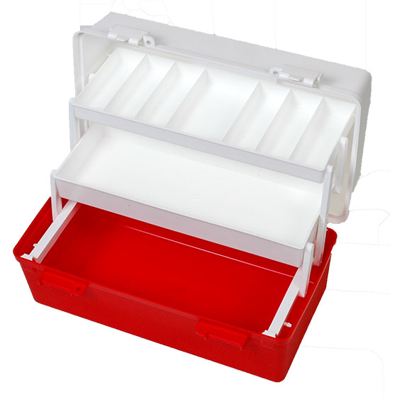 AKP002R – AeroCase Large Two Tray Red and White Plastic First Aid Toolbox>